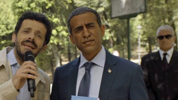 Actor in blackface portraying President Barack Obama