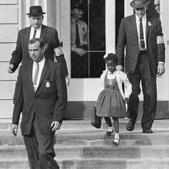 Young Ruby Bridges on school steps