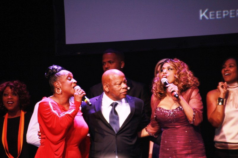 """Regina Bell, left, and Jennifer Holliday serenaded legendary Congressman John Lewis with """"Happy Birthday"""" along with the audience to close out the spectacular gala."""