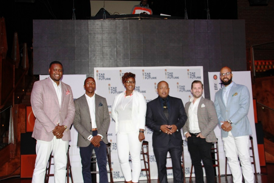 """Steve Canal, MillerCoors manager of community affairs; Sulaiman """"Su"""" Sanni and Ben Lamson Marve Frazier, founders of WeDidIt; Marve Frazier, CEO of Bossip.com; Daymond Johns (all black); and Kenny Burns, far right, VP of Revolt TV marketing"""