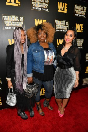 """ATLANTA, GEORGIA - MARCH 10: (L-R) Charlie Rivera, Mona Smith, and Tammy Rivera attend the premiere of """"Waka & Tammy: What The Flocka"""" at Republic on March 10, 2020 in Atlanta, Georgia. (Photo by Paras Griffin/Getty Images WE tv)"""