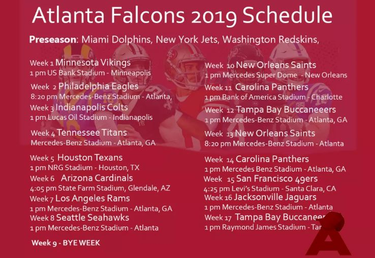 Atlanta Falcons 2019 Football Schedule Atlanta Falcons 2019 Schedule: Home And Away Game Opponents