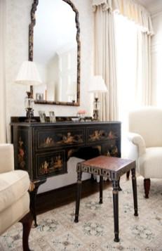 Wallpaper, Farrow & Ball. Custom monogrammed linens, Gramercy Home. Rug, Designer Carpets.