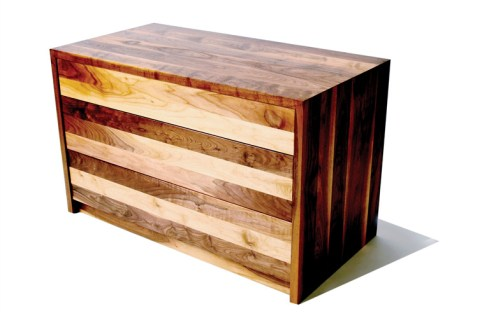 The three-drawer dresser, made of walnut, exemplifies Morgan's deft hand at giving natural wood an entirely new dimension.