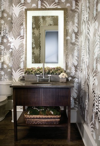 33) Jared Paul mixed a re-issued 1970s print wallpaper with a tailored vanity to create a perfect powder room.
