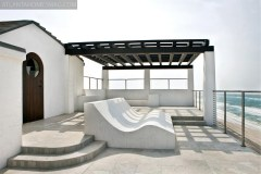 """The architecture of this residence is a study in contrasts, perhaps nowhere more apparent than on the rooftop terrace. 'It's very much a shade and shadow study,"""" says project manager Rayn Duffey. """"If we didn't have simple coloration, the effect would be lost."""""""