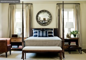 Bedroom pieces include a four-poster bed and his and hers bedside tables with opposing pull-out drawers.