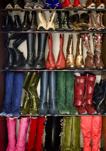 "A portion of Monica""s boot and shoe collection."