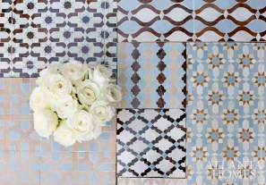 David Austin roses rest atop an assortment of Moroccan tiles from Ann Sacks and Renaissance Tile & Bath.