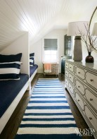 Morris treated the guest room loft with graphic appeal in the form of a striped runner by 79th Street Rug Shop and a nailhead chest from Scout for the Home.