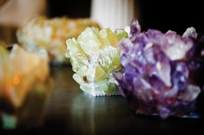Colorful decorative crystals indicate Mills' feng shui-driven designs.