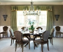 It took faux-finish artist Judy Neukrug of Faux FX six weeks to hand-paint the walls of the dining room to look like wallpaper. Chandelier, David Iatesta, Ainsworth-Noah & Associates. Dining chairs, Dan Carithers Collection, Sherrill Furniture.