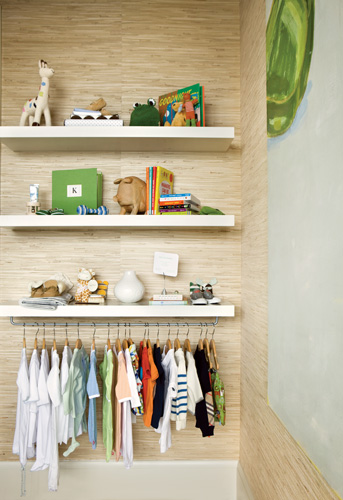 """The display shelves are IKEA, and negate the need for a baby""""s closet. All other resources, Pieces Inc."""