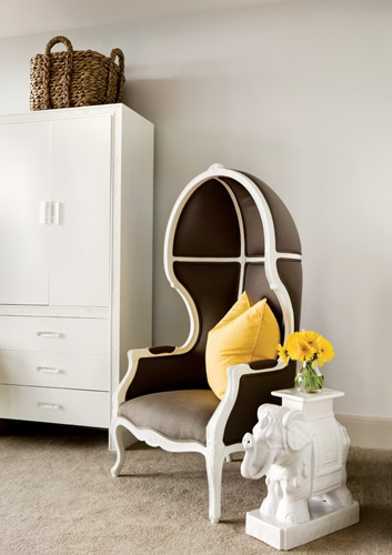 """The reupholstered Hollywood Regency porter chairs are precious but sturdy enough to stand up to the pre-teen""""s use."""