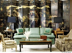 57) Silk textiles and Chinoiserie influences define this living room by Chad Holman.