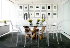 40) Rita Carson Guest's take on this dining room melds organic shapes with cutting-edge furniture and photography.