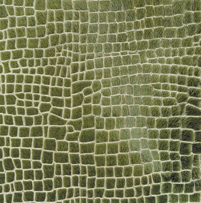 """Laser Cavallo hide with hair in Cayman pattern by Cortina Leathers. Available through Paul +""""Raulet."""