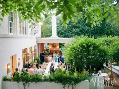 The lush setting of Kasler's Regency-style Buckhead home created a sophisticated atmosphere for the mingling of business and pleasure.