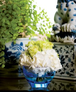 """Nosegay of roses and hydrangeas, $35, in Blue Moser """"Cubism"""" bowl, $100. Available at Lush Life Home & Garden, 146 E. Andrews Dr. NW, Atlanta 30305. (404) 841-9661; lushlifehomegarden.com"""