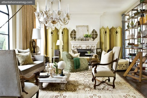 """Bold Bazaar Living Room, Barry Dixon Global influences were at the essence of the living room""""s design, which could accommodate a multitude of functions for modern-day living."""
