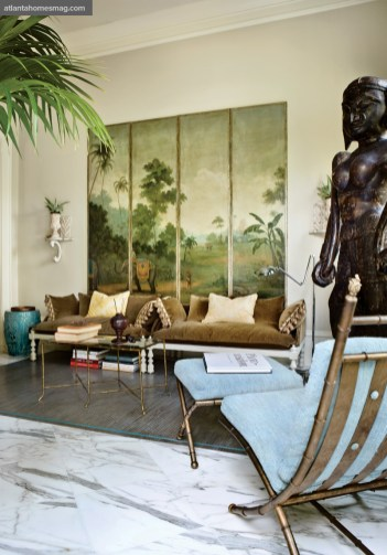 """Upon Reflection Puja Room, Raymond Goins Custom daybeds and a hand-painted screen exhibited an understated elegance in the home""""s spiritual center."""