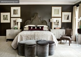 """Quiet Cocoon Guest Bedroom, Bill Musso &""""Todd Falconbury Enveloped by a chocolate paint color, the terrace level bedroom provided the ultimate place for respite."""