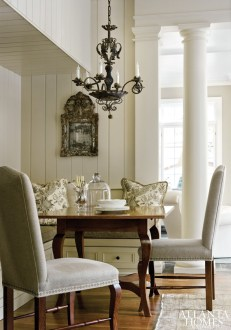 "If the table seems perfectly sized to the breakfast area, there""s good reason: One that the owners already had, it was cut down from a round to a square. It pulls up to a new L-shaped banquette with chairs from Holland & Company completing the seating."