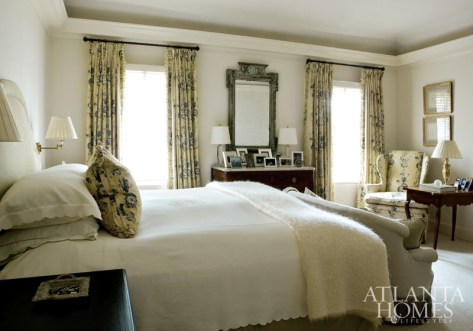 "Most of the pieces in the master bedroom were found when Ervin and her client shopped together. ""I try to take my time and look for individual pieces for a client, to acquire things one at a time,"" says the designer. ""I prefer that people not recognize my style, that the house reflects their tastes more than mine."""