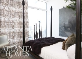 """Costantini Design""""s Fiorenza Four Post Bed and the four paddles on stands are by Chip & Company."""