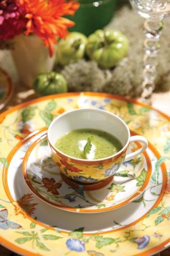 Green Zebra tomato-and-cucumber gazpacho with creme fraiche was a refreshing starter course.