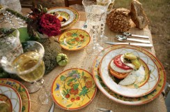 His goat cheese-and-tomato salad featured several heirloom varieties of the fruit, including Cherokee Purple, German Pink, Green Zebra and Valencia. Siesta dinnerware by Herm's. Bubbles stemware by Saint-Louis Crystal. Nantes flatware by Puiforcat.