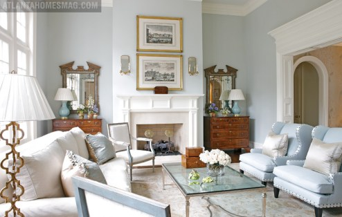 The formal living room of designer Beth Elsey's Duluth home is a polished showcase of splendor. Its furnishings including the Dessin Fournir sofa, John Boone cocktail table and Holland & Company chests were purchased by Elsey over the years. I think things should be collected over time, she shares. It's better to wait and buy something of good quality with the intention of keeping it than to think everything is disposable.