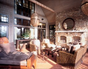 55) Kathy Guyton and Chip Cheatham upped the ante on rustic design by incorporating wicker, rattan and iron.