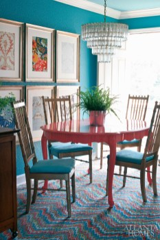 """The condominium""""s energetic color palette was inspired by the dining room""""s flame-stitch FLOR tiles."""