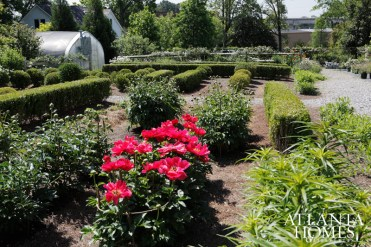 Smith's lush property includes trimmed boxwoods and a meadow of wildflowers.