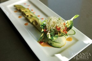 Mixed greens were served in a cucumber base with avocado and alfafa, topped with a red pepper vinaigrette.