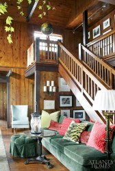The custom 14-foot banquette runs the entire length of the staircase, making it an ideal place to read or take afternoon naps.