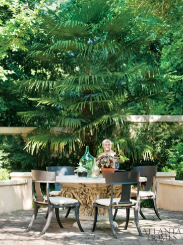 The lush gardens of Musso and Cooke are a beautiful blend of both of their talents; Musso, a designer, gets the credit for the well-appointed furnishings while Cooke is the gardener extraordinaire.