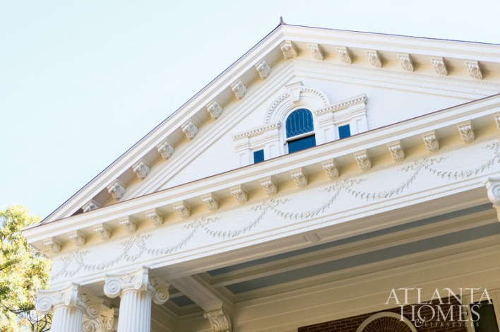 After a year-long process, the portico once again shines in its Greek Revival style.