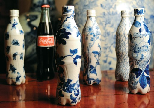 Blue-and-white porcelain cola bottles by Taikkun Li, $380 each. Available through Pagoda Red, 1714 N. Damen Ave., Chicago, IL 60647. (773) 235-1188; pagodared.com