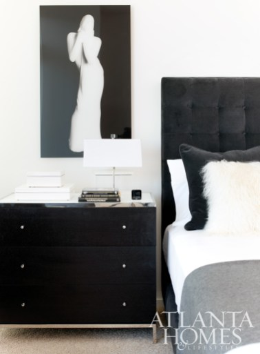 The Dickson Platform Bed, Manning Chest and Athena Table Lamp are all available through MG + BW. Artwork is by Harriet Leibowitz, represented by Alan Avery Art Company.
