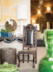 """Marty mason collected home""""s """"mix it up"""" motto is demonstrated in the shop""""s layered look. In addition to clever accessories and stylish upholstery, savvy snoot also offers an array of unique lighting options."""