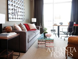 Sullivan and Tyne End Tables and a pair of Duo Table Lamps flank the charcoal Ian Sofa.