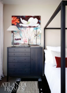 Percale linens and mohair pillows adorn the Architecture Bed, while a five-drawer Calvin Chest provides storage space. All of these items are available through Room & Board.