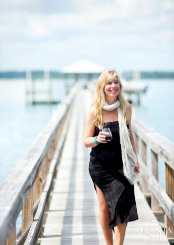 Lydia Mondavi enjoys a glass of wine on the deep-water dock at the vacation home she shares with husband Robert and their son in Beaufort, South Carolina. The Napa Valley residents chose the picturesque coastal town to immerse their son in Lydia's Lowcountry ancestral heritage and to experience the essence of the South.