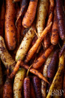 Chef Kevin Gillespie coated the carrots in a paste made from a Moroccan spice mixture and olive oil before roasting them.