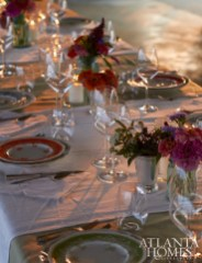 The evening's farm-to-table feast was enjoyed atop an informal but thoughtful tablescape.