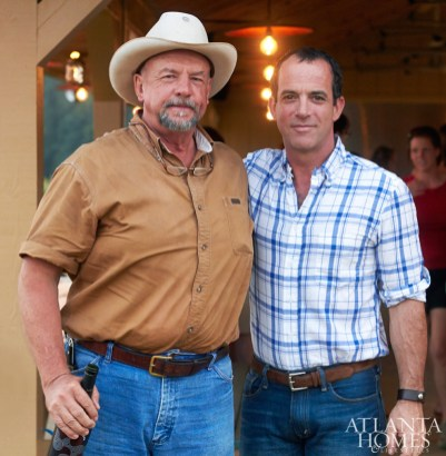 Will Harris (left) and dinner guest Emile DeFelice of Caw Caw Creek Pork Farms in South Carolina.