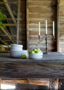 A rustic table setting in the carriage house.