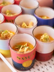 Artfully designed Warhol-inspired soup cans.